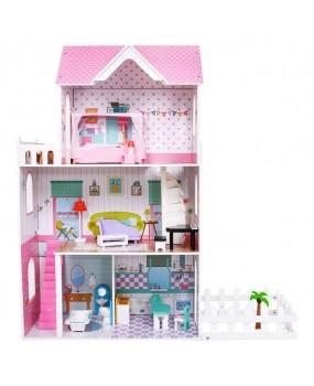 Drevený domček pre bábiky so záhradkou